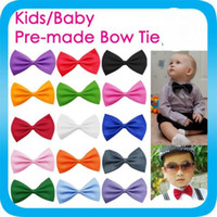 Wholesale Choosing Wedding Colours - YOUNG BOYS BOW TIE kids children toddlers Pre-tied wedding bowtie CHOOSE COLOUR Children Kids Toddler Boys Girls Solid Colour Bowtie Pre Tie
