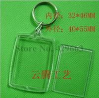 Wholesale Arc Photo - Free shipping 300pcs lot Rectangular Arc DIY Acrylic Blank Picture Frame Keychains Transparent Blank Insert Photo Keychains