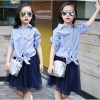 mais saquinho de tamanho venda por atacado-2016 Coreano Moda Big Girls Outfits 120-160 Camisa Listrada Azul + Puff Tulle Saia 2 PCS Define Plus Size Crianças Outfits K7207