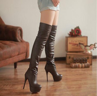 Wholesale Black N White Heels - Overknee Boots with Elastic Stovepipe Slim Thin Sexy High-heeled Boots