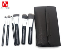 Wholesale makeup brush set leather pouch for sale - Group buy Professional Brand Quality Deluxe Charcoal Antibacterial Fiber Makeup Brushes Set Cosmetic Tool Kit With Faux Leather Pouch