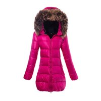 Wholesale Real Fur Trimmed Coats Women - Duvet Puffy Down Jackets For Ladies Top Brand Winter Coats Real Fur Hood Light Outdoor Long Sleeve feather dress