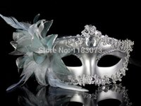 Wholesale White Jester Mask - 10pcs lot High quality Noble Elegant Sexy Italy Venice Princess Masks Women Masquerade Party Mask with flowers Free Shipping