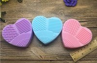 Wholesale Brush Heart shaped Brush Silicone Brush Cleaning Brush egg Cosmetic Brush Cleanser Make up Makeup Brush Cleaner Clean tool DHL Free