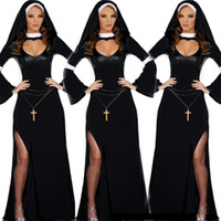 Wholesale United States Uniforms - new arrival Woman Black Europe and the United States uniform Halloween game role playing nuns clothing theme party stage costumes