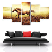 Wholesale chinese landscape canvas oil paintings online - 2016 New Pieces Painting Home Decoration Wall Art Decoration Chinese Running Horse Painting Good Quality