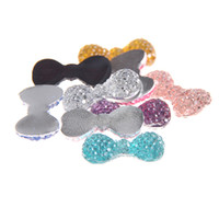 Wholesale Resins For Bows - Glue On Resin Beads 12x23mm Many Colors Bows Bowknot Flatback Non-Hotfix Crafts Rhinestones For Fabric Garments Embellishments