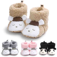 Wholesale Cute White Booties - Cute sheep panda pattern winter baby boy girl warm boots cotton plush booties high boots prewalker