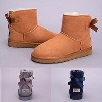 Wholesale Christmas Ribbon Bands - New Arrival WGG Women's Australia Classic tall Boots Women girl boots Boot Snow Winter black blue Bow tie boots leather shoes size 36-41
