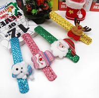 Wholesale Wholesale Slap Bands - Christmas Sequins Slap Clap Bracelet Women Kids Santa Claus Elk Snowman Circle Hand Bands Party Gift Wristband Bangle OOA3295