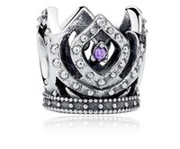 Wholesale Prince Jewelry - 925 Sterling Silver Prince Crown Tiara Charm Bead With Fit for European Pandora charm Bracelet DIY Jewelry