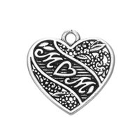 New Vintage Design 18.3 * 18.3mm Prenda do dia das mães Zinc Alloy Metal Heart MOM Charms for Jewelry Findings