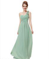 Wholesale D Party Dresses - Have Stock One Shoulder Pleats Chiffon Prom Gown Formal Party Dresses Long Evening Dress