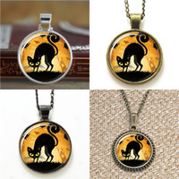 Wholesale cats bookmarks resale online - 10pcs Black Halloween cat Pendant Necklace keyring bookmark cufflink earring bracelet