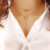 Wholesale Choker Double Chain - 18K Yellow Gold Plated Double Rows Big Cubic Zirconia CZ Charm Tassel Chain Necklace for Women