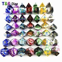 dices branco venda por atacado-Decider Die Transparente Cor Branca Dice D4-D20 Para Festas De RPG Brinquedos 7 Cores