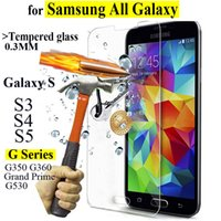 Wholesale S3 S4 Screen Protectors - 9H 0.3mm Tempered Glass For samsung galaxy S3 S4 S5 Anti Shatter Screen Protector protective Film G350 G360 G530 Grand Prime