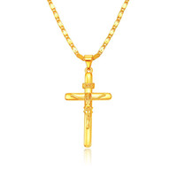 Wholesale Quality Heart Cross Necklace - Top Quality Trendy 24k Gold Plated Necklace Men necklace&pendant Fashion Religion Jesus Cross Pendant Chain Women's Jewelry A056