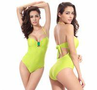 Wholesale Womens Swim Suits Bikini - Hanky Set New 2016 Womens Swimming Suit Bikini Sexy Stamp Striped Halter Tie Poly Chest Size Siamese Swimsuit Beach Womens Swimwear Bikini