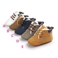 Wholesale toddlers ankle boots - Baby Soft Soled lace up ankle boots Infants pu heudauo Casual Shoes Baby First Walker warm Shoes Toddler Footwear Infant Winter Boots