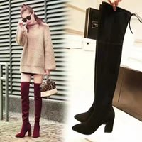 Wholesale Over Knee Faux Suede - 2017 New Arrival Thigh-High Boots High Quality Western Fashion Black Red Gary Shoe Genuine Real Leather Stretch Bowknot Heel 9CM Women Boots