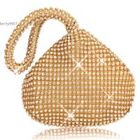 Wholesale Black Evening Party Bags - 2016 New Fashion Lady Women Clutch Bag Purse Rhinestones For Wedding Evening Party Black Silver Gold