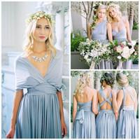 Wholesale Chiffon Multi Way Dress - Mix&Match Convertible Dress A Line Multi 8 ways Bridesmaid Dresses Country Wedding Beach Bridal Dresses Chiffon Gowns Party Dresses Custom