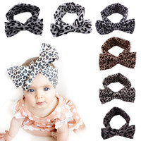 Wholesale hair band combs for sale - 6 Colors Baby Leopard Headbands Kids infant bowknot stretch cotton Hairhands Bandanas Turban Head bands Children Hair Accessories