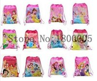 Wholesale Drawstring Bags Princess - 12 Pcs fashion lovely Cartoon Movies Princesses Drawstring Backpack Tote School Bag String Bags Children bag For Gift