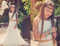 Wholesale Ruffled Junior Flower Girls Dress - Boho Chic Flower Girl Dresses 2017 Vintage 2 Pieces Junior Bridesmaid Dress Floor Length Bohemian 1st Communion Dress for Little Girls