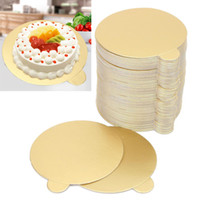 Wholesale Pastry Boards - New 100Pcs set Round Mousse Cake Boards Mayitr Cupcake Dessert Tray Gold Paper Displays Wedding Birthday Pastry Decor