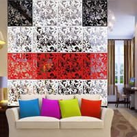 Wholesale Hanging Screen Curtain - 2016 High Quality New 4pcs Flower Wallpaper Wall Sticker Hanging Screen Curtain Room Divider Partition New Feshion Home Decoration