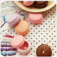 Wholesale Earphones Boxes - Cute Candy Color Macaron Jewelry Boxes Mini Cosmetic Jewelry Storage Box Pill Case Birthday Gift Display Macaron Earphone Case for iphone 7