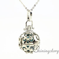 Wholesale Necklaces Ball Silver - ball essential oil diffuser necklace diffuser pendants wholesale essential oil diffuser jewelry aromatherapy necklaces metal volcanic stone