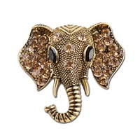 Wholesale Elephant Pins - High Quality Retro Elephant Brooches Zinc Alloy Crystal Rhinestone Brooches for Men Jewelry Fashion Lapel Pin Anti Gold Silver Animal Badges