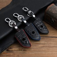 Wholesale Bmw Leather Wallet - Genuine Leather Control Auto Key Case For BMW X5 E53 X6 Series Key Cover Metal Keychain Car Styling Key Wallet For BMW X5