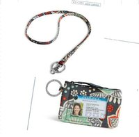 VB цветок Zip ID Case Lanyard Card Holder Кредитная карточка Bus Card Case