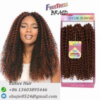 "Wholesale Premium Hair Extensions Curly - Kinky Curly Synthetic Hair Bundles 100% premium Freetress Hair Soft Feeling Crochet briads Interlocking 10""Savanna 3strands pack braids"
