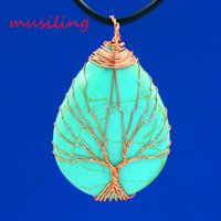 Wholesale 14k Rose Gold Chain Necklace - Natural Stone Water Drop Life Tree Pendants Necklace Chain Jewelry For Women Charms Bohemian Healing Chakra Amulet Fashion Jewelry