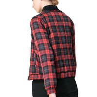 chaquetas baseball mujer оптовых-Wholesale- 2016 Autumn Winter Bomber Jacket Women  Jacket Red plaid Baseball Jackets Chaquetas Mujer Jaqueta Feminina Coat Women