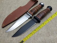 Wholesale knives leather handles - FREE SHIPPING KA-BAR USN-MK1 9.5'' New Leather Handle 4MM Blade 440C Survival Bowie Hunting Knife USN-MK1