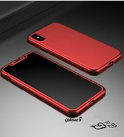 Wholesale Pink Body Protector - Ultra-thin Hybrid 360 Degree Full Body iPhone X Case Cover with Tempered Glass Screen Protector for Apple 6 6S 7 Plus Phone Case