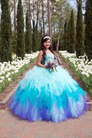 Wholesale 2016 New Princess Quinceanera Dresses Sweetheart Crystal Beads Ball Gown Floor Length Ruffles Sweet Prom Party Gown Vestidos Cheap Custom