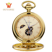 Wholesale Skeleton Watch Necklace - 2017 Luxury Gold Pocket Watch Mechanical Hand Winding Skeleton Necklace Chain Antique Fob Watches Men Women Gift Relogio