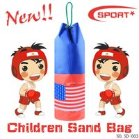 Wholesale Empty Leather Box - Free Shipping Sandbag boxing toys PU leather classic style outdoor sports toys (empty bag) -46cm   RED  BLUE