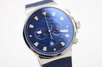 Wholesale Maxi Marine Chronograph - Limited Edition UN Quartz watch Men Blue Dial Maxi Marine Chronograph Gold Case Rubber Band 45mm Digital watch free shipping