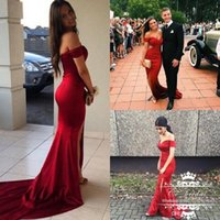 Wholesale Silver Evening Gowns Sale - Wholesale Sexy Split Red Dresses Evening Wear Saudi Arabia Long Off The Shoulder Plus Size Dresses Cheap Prom Party Gowns Fashion Sale
