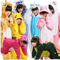 Wholesale kids kigurumi - Cartoon Kids Pajamas Flannel cartoon animal kids nightgown Sleepwear Homewear Cosplay Animal Pajamas Kigurumi Kids Onesie Sleepwear KKA3359