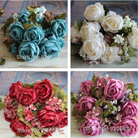 Wholesale Vivid Paintings - European 14 heads rich rose 1 Bouquet painting peony Artificial Vivid Peony Silk Flowers Fake Leaf Wedding Home Party Decoration