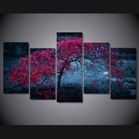 Wholesale Canvas Paint Autumn - 5 Pcs Set Framed Printed tree light purple autumn Painting Canvas Print room decor print poster picture canvas Free shipping ny-4933